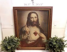 A large antique Sacred Heart of Jesus Art Print in a Carved Wood Frame. Vintage Catholic decor. Stand alone Statement Piece or Gallery Wall art.