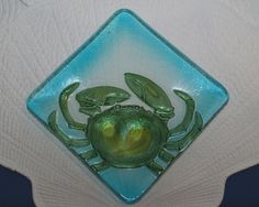 Seabreeze Fused Glass Crab Plate