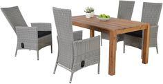 Trento greywash tuinset met houten tafel van Tuinmeubelen.nl