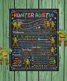 Chalkboard Keepsake Ninja Turtles Birthday Decoration