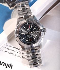 The Breitling SuperOcean Steelfish (Ref. A17390) comes in the classic masculine Breitling look, but also looks fantastic on a ladies' wrist. Breitling Superocean, Breitling Watches, Omega Watch, Steel, Luxury, Classic, Accessories, Derby, Classic Books