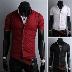Fashion Solid Color Short Sleeve Dress Shirt For Men Mens Summer T Shirts, Casual Shirts For Men, Men Casual, Cool Shirt Designs, Men Style Tips, Shirt Outfit, Dress Shirt, Ruler