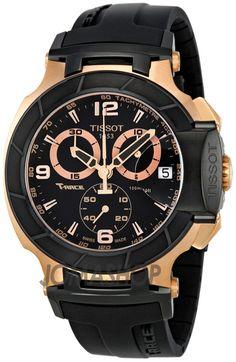 Tissot T-Race Chronograph Rose Gold-tone Black Rubber Mens Watch T0484172705706