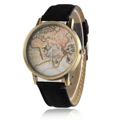 Persevering Unisex Golden Round Shell World Map By Plane Watch Date Quartz Denim Fabric Wristwatch Analog Fashion Mujer Relogio Feminino Watches