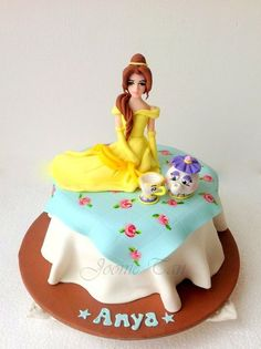 Princess Belle theme cake for Lil Anya Cake & Co, Cake Art, Princess Belle Cake, Princess Theme, Elsa Cakes, Cake Decorating With Fondant, Giant Cupcakes, Disney Cakes, Girl Cakes