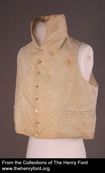 Waistcoat, circa 1810, with a very high, stiff collar would typically be worn with a cravat that would wrap around the collar and be tied in the front in an intricate multi-layered fashion.