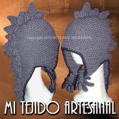 GORRO MODELO \u0026quot;DRAGÓN\u0026quot;. Infinidad de creaciones tejidas al crochet, para damas, bebés, niños, adolescentes y hombres. Realizo diseños personalizados por