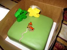 Carcassone Meeple Cake - Carcassone board game themed grooms cake with meeples.