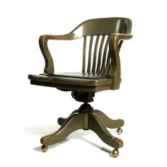 antique deco wooden chair swivel office desk chair via etsy love - Office Desk Chairs