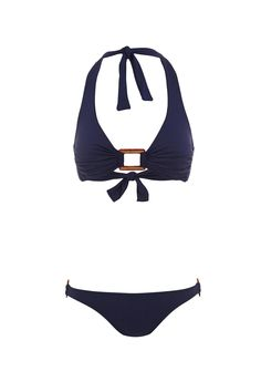 The Paris offers a modern take on the classic halterneck style bikini. A confident plunging neckline meets a timeless perspex rectangle trim with gold detailing at center bust; complimented by matching trims on both hips. The Paris offers ample support with medium coverage.    Paris Navy Bikini by Melissa Odabash. Clothing - Swimwear - Two-Piece Miami, Florida