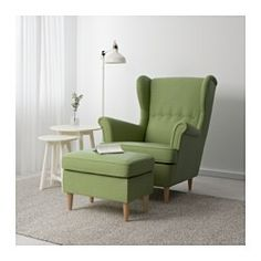 IKEA - STRANDMON, Ottoman, Skiftebo green, , Works as an extra seat or ottoman.10-year limited warrranty. Read about the terms in the limited warranty brochure.