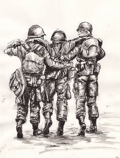 Band of brothers by knyttets on DeviantArt - Band of brothers by knyttets. Army Drawing, Soldier Drawing, Military Drawings, Military Tattoos, Capitan America Winter Soldier, Small Soldiers, Toy Soldiers, Soldier Costume, Black Widow Winter Soldier