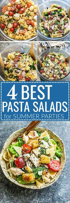 These are the Four Most Popular Pasta Salads that everyone looks for summer cookouts. Caprese, Chicken Caesar, Greek Tortellini and Broccoli Pasta Salad. They are the perfect side dish to bring to potlucks, parties, Memorial Day 4th of July grillouts / barbecues and picnics. Best of all, they are so easy to make and simple to customize with an option for homemade dressing. Works great for Sunday meal prep and leftovers are delicious for school or work lunchboxes or lunchbowls.