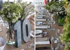 raw linen cloth, just picked flower bunches in recycled jars, industrial table numbers