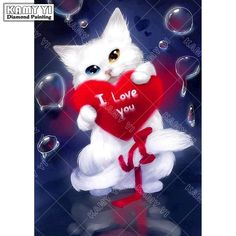 [Visit to Buy] Diy Diamond Painting White Lovely Cat Cross Stitch Red Love Cat Needlework Home Decorative Full Square Diamond Embroidery Diy Painting, Painting Frames, Pattern Painting, I Love You Animation, I Love You Pictures, Gifs, White Kittens, Cross Paintings, Mosaic Patterns