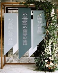 Floral and Event Design by Hello Gem Events. Photo by Birds of a Feather Seating Chart Wedding, Seating Charts, Wedding Table Themes, Wedding Decorations, Wedding Trends, Wedding Designs, New Foto, Wedding Signage, Event Decor