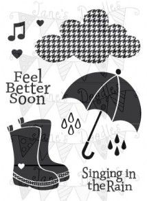 Jane's Doodles Clear Stamps RAINDROPS Set JD18