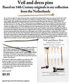 14th Century Veil Pins