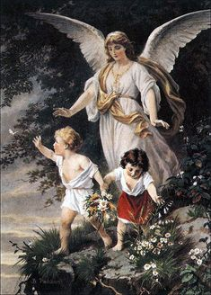 "Schutzengel (English: ""Guardian Angel"") by Bernhard Plockhorst depicts a guardian angel watching over two children. Angels Among Us, Angel Protector, Art Ancien, Your Guardian Angel, I Believe In Angels, Ange Demon, Angel Pictures, Kids Poster, Archangel Michael"