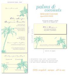 Palm & Coconuts Beach Wedding Invitations