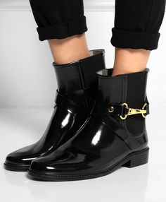 Burberry Glossed-Rubber Rain Boots