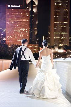 The bride and groom took photos on the walkway during the reception!