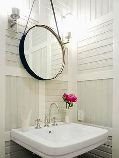 Powder room mirror // Thom Filicia small powder room with black leather mirror, white pedestal sink, sconces and paneled walls. Mirror Inspiration, Bathroom Inspiration, Home Decor Inspiration, Bathroom Ideas, Bathroom Designs, Quirky Bathroom, Barn Bathroom, Mirror Bathroom, Bath Ideas