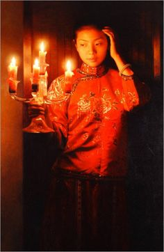 Lady with Candle by Zhang Yibo,  (China,1966)
