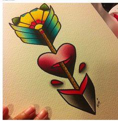 54 ideas tattoo old school traditional alex strangler Tattoo Femeninos, Up Tattoos, Time Tattoos, Trendy Tattoos, Future Tattoos, Flower Tattoos, Body Art Tattoos, Tattoo Arrow, Traditional Tattoo Flowers