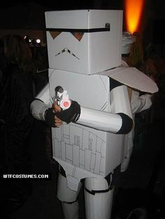 Unfortunately no instructions given, but looks like cardboard boxes and tubes. Easy enough! | 34 Halloween Costumes Made From A Cardboard Box