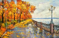 Autumn mood Palette Knife Oil Painting on Canvas by by spirosart