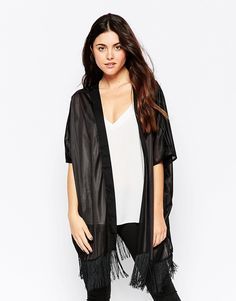 """Kimono by b.Young Mid-weight. silky-feel fabric Semi-sheer finish Open front Fringed hem Relaxed fit Machine wash 100% Polyester Our model wears one size and is 176 cm/5'9.5"""" tall"""