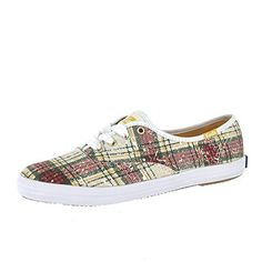 Keds Women's Champion Distressed Plaid Fashion Sneaker, White, 5.5 M US * More info could be found at the image url.