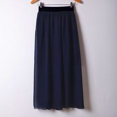 2015 New Summer Chiffon Skirt Casual Style Solid Skirts Black Sashes Empire Mid-Calf Skirts 20 Colors