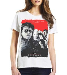 Ladies Retro Cult Classic Lost Boys Movie Poster T-Shirt - Soft & Comfy - Available in Boyfriend & Fashion Fit Lost Boys Movie, Boys T Shirts, Retro, Stylish, Lady, Classic, Mens Tops, Poster, Vintage