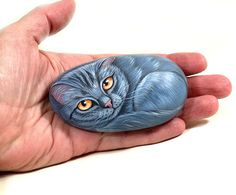 Gray kitty hand painted stone by LivingRocks on Etsy