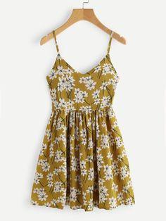 #AdoreWe #ROMWE ROMWE V Neckline Floral Print Cami Dress - AdoreWe.com