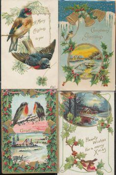 Vintage Lot of 4 Beautiful Christmas Birds Bird Antique Postcards HHH213 | eBay