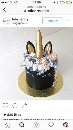 Glam black & gold unicorn cake