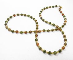 Unakite with Gold Accents Necklace by kiddercreations on Etsy, $19.00