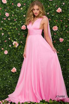 Look like a dream and feel like a princess in the A-Line Silk Chiffon Ruched Halter Prom Dress by Jovani. This enchanting style features a V-shape neckline, a tie back with straps and a low cut with an invisible zipper. The A-line silhouette also includes silk chiffon fabric, a ruched bodice with a matching ruched waistline and a flowy skirt. #edressme