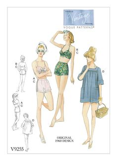 Retro-style two-piece swimsuit sewing pattern. V9255 | Vogue Patterns