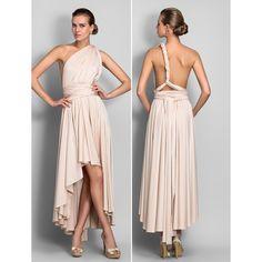 Sheath/Column Asymmetrical Jersey Convertible Dress