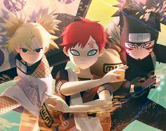 Gaara, Temari and Kankuro Naruto Kakashi, Naruto Uzumaki Shippuden, Anime Naruto, Naruto Teams, Naruto Cute, Shikamaru, Naruto Fan Art, Anime Siblings, Naruto Series