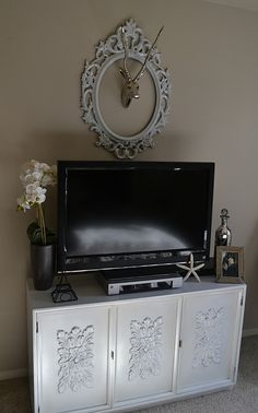 the poor sophisticate: The Reveal of My T.V. Stand Make-Over White, classy, character, a hint of shabby chic