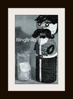 Vintage Crochet Moustache Liquor Bottle Sleeve by BlingBrilla