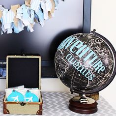 adventure awaits - travel themed baby shower (a Silhouette project) #Globe