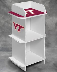 "17"" wide x 12"" deep x 30"" tall 2-cube storage organizer with Virginia Tech University Hokies graphics and colors.  Easy assembly - no tools required. Designed to hold storage cubes (fabric cubes sold separately)."