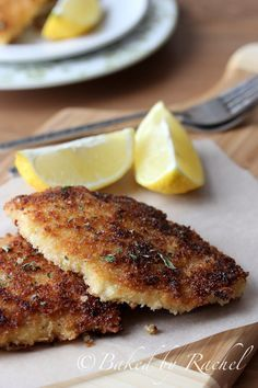Chicken Schnitzel Recipe.  MODIFICATIONS:  used 2 chicken breasts, sliced in half; used scant 1 cup pretzels coarsely chopped in food processor and scant 1 cup panko bread crumbs; one egg and 2 healthy TBS Dijon mustard; added cayenne pepper to panko/pretzel mixture and pepper & paprika to flour. No salt added due to salt in pretzels. Husband and kids ate seconds - score!