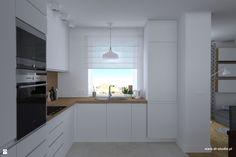 kuchnia biała z drewnem, drewniany blat - zdjęcie od DR-STUDIO - Kuchnia - Styl Nowoczesny - DR-STUDIO